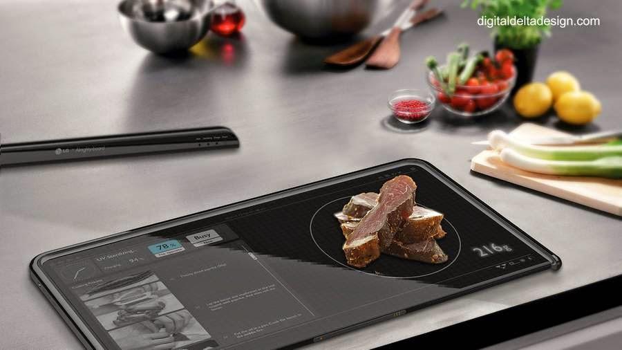 Bandeja de cocina con balanza electrónica y pantalla para ver recetas