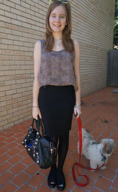 Jeanswest print tank asos black pencil skirt balenciaga part time office outfit