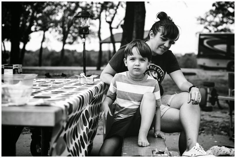 camping, family vacation, jen faith brown photography, family photography, storytelling photography, grapevine texas, breakfast, cereal, dog,  vineyard campgrounds, children photography, mom and son, parent