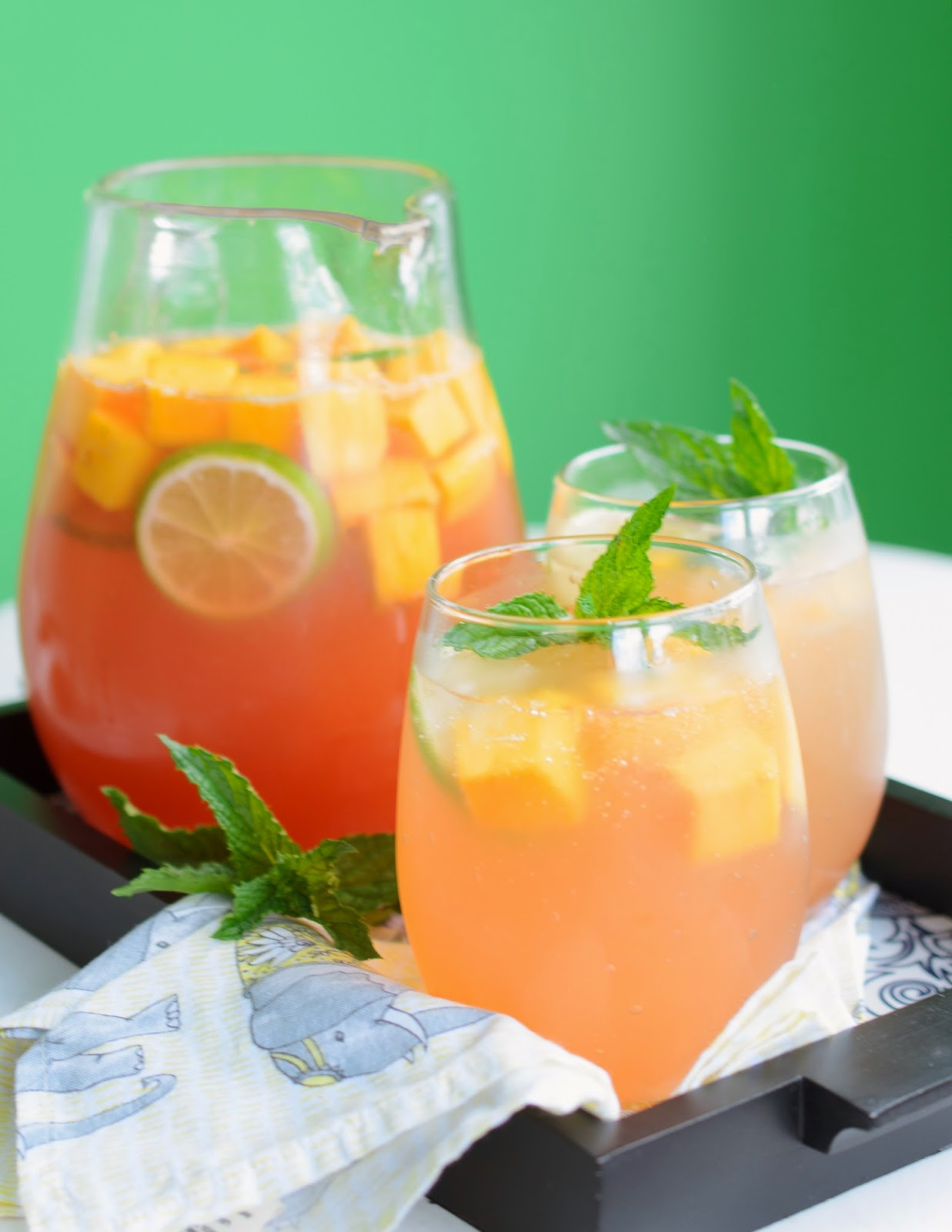 Mango Sangria with White Wine and Lychee Liqueur