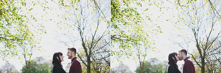 Couple share a tender kiss at their engagement shoot in East London