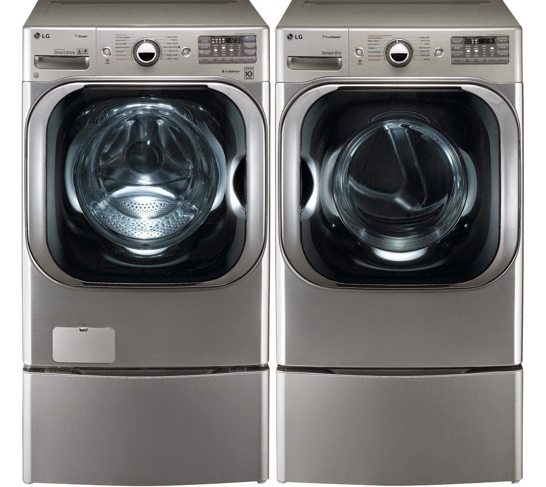 Lg all in one washer and dryer reviews - Lg Graphite 5 1 Cf Front Load Steam Washer And Dryer Set With Pedestals