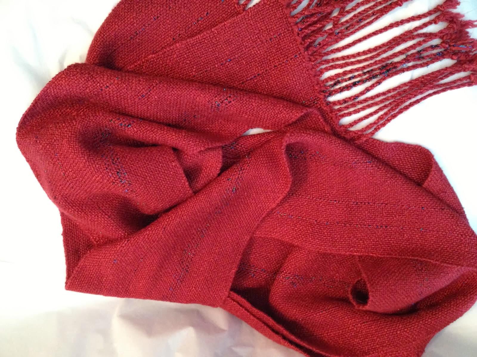 Kathy's Red Rayon RicRac Christmas Scarf