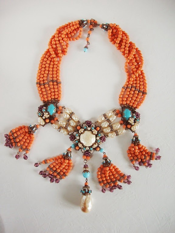 Collier ancien perles de verre Halskette alte antik perlen