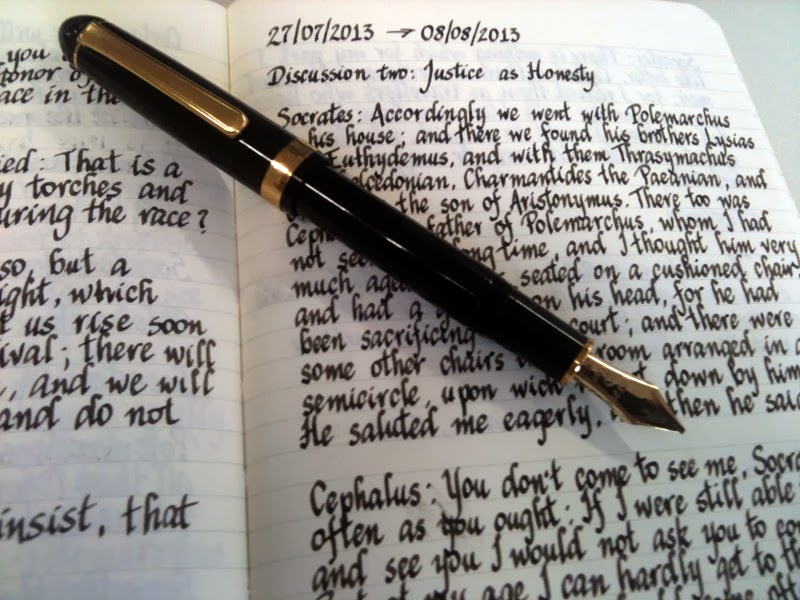 Platinum Fountain Pen with Music Nib writing sample. The text is extract from Plato's The Republic Book.
