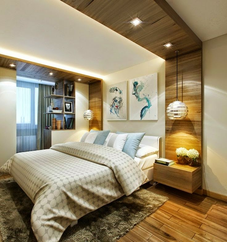 quarto de casal com paineis de madeira e iluminação pendente