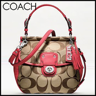 Ready Stock Coach Poppy Signature Willis 19034 Khaki Pink