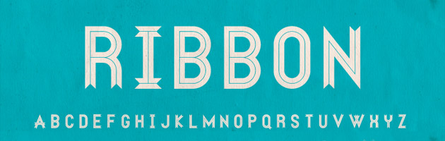 Ribbon | レトロな雰囲気に合いそうなリボン風のデザインフォント
