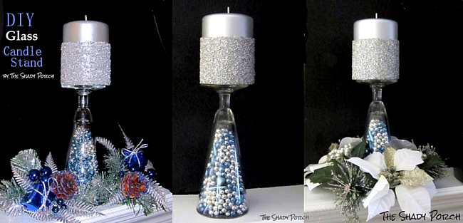 DIY Glass Candle Stand #craft #DIy #decorations #holidaydecor