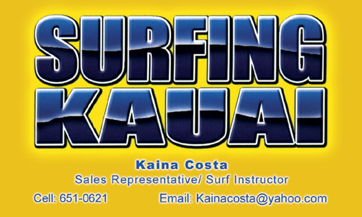 Rdbcreative february 2011 surfing kauai business cards reheart Image collections