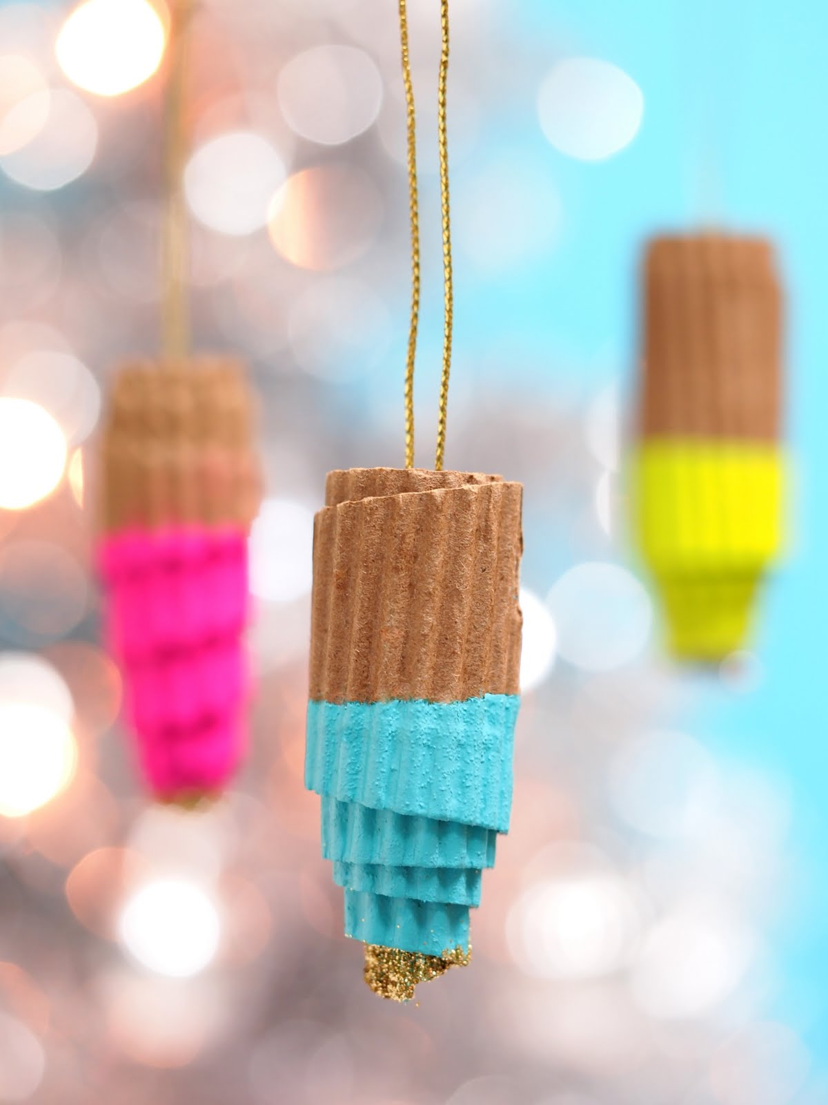 Ice cream ornaments - Recycled Cardboard Coffee Cup Sleeve Ornaments