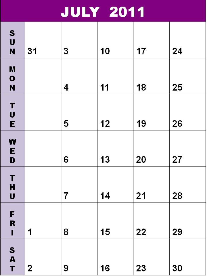 blank july calendar 2011. july 2011 blank calendar