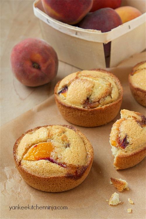 Gluten free peach cake muffins