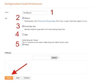 Panduan Cara Memasang Widget Kotak Penelusuran di Blog