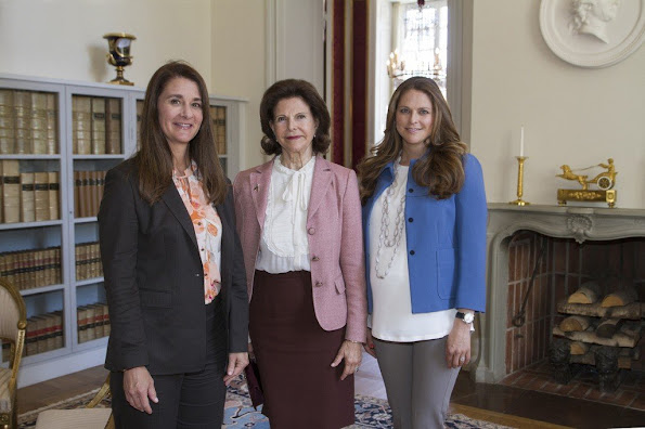Princess Madeleine met with Melinda Gates of co-founder of the Bill & Melinda Gates Foundation at the Royal Palace