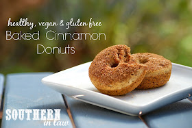 Vegan Baked Cinnamon Donuts Recipe - Gluten free, healthy, low fat, low sugar, egg free, dairy free