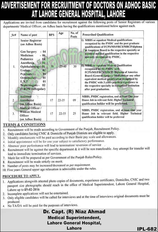 Lahore General Hospital jobs in Lahore latest 2016