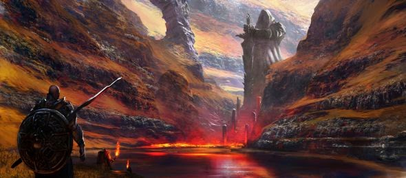 Grosnez deviantart illustrations fantasy science fiction Torchlight procession