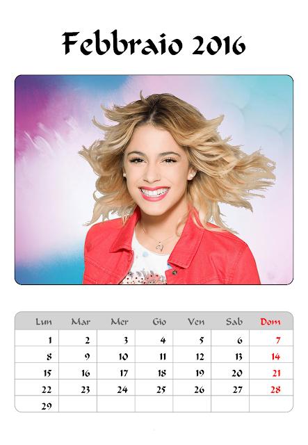 Violetta - Calendario 2016 febbraio