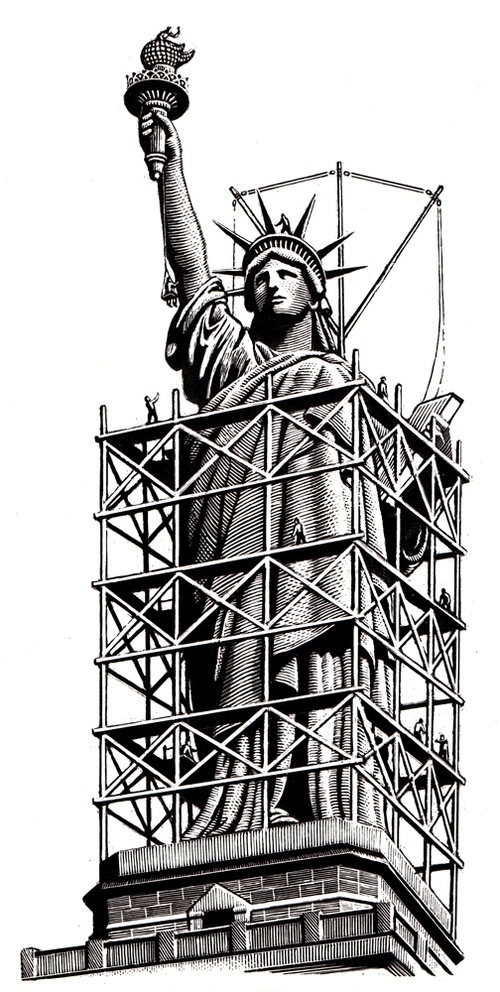 04-Statue-of-Liberty-Douglas-Smith-Scratchboard-Drawings-Through-Time-and-Lives-www-designstack-co
