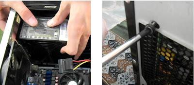 Colocación de la fuente en computadora