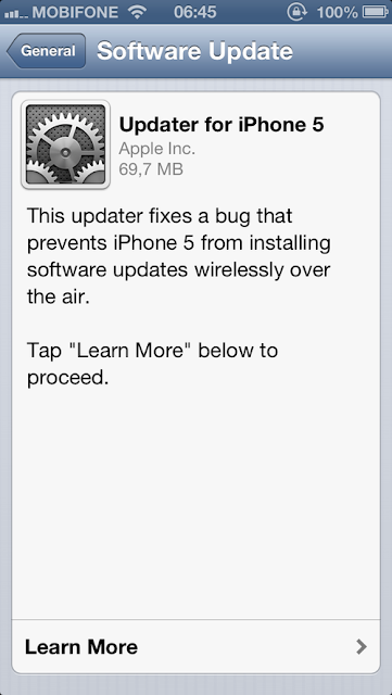 update iOS 6.0.1 for iPhone 5