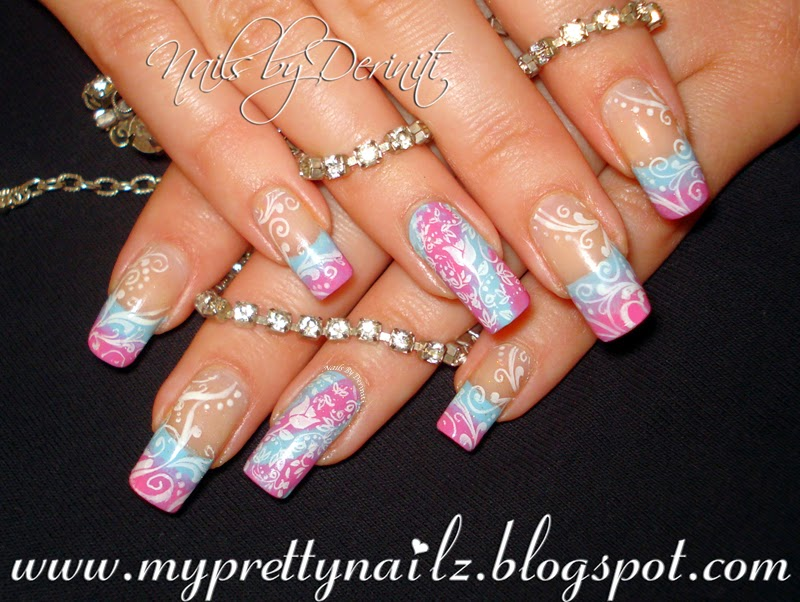 My Pretty Nailz: Simple Spring French Tips Ombre and Swirls Nail Art ...