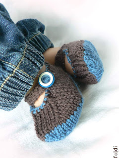 machine knitted passap merino wool baby booties