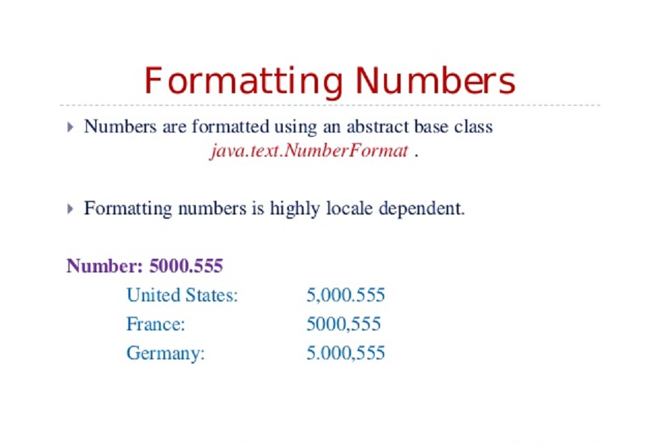 how to format numbers in java