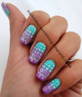 pastel gradient nails polka dot nail art