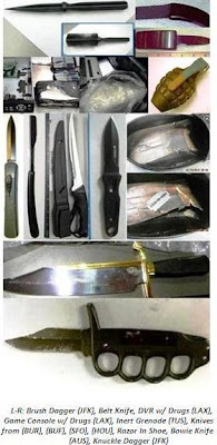 Knives, inert grenade, drugs concealed in game console.
