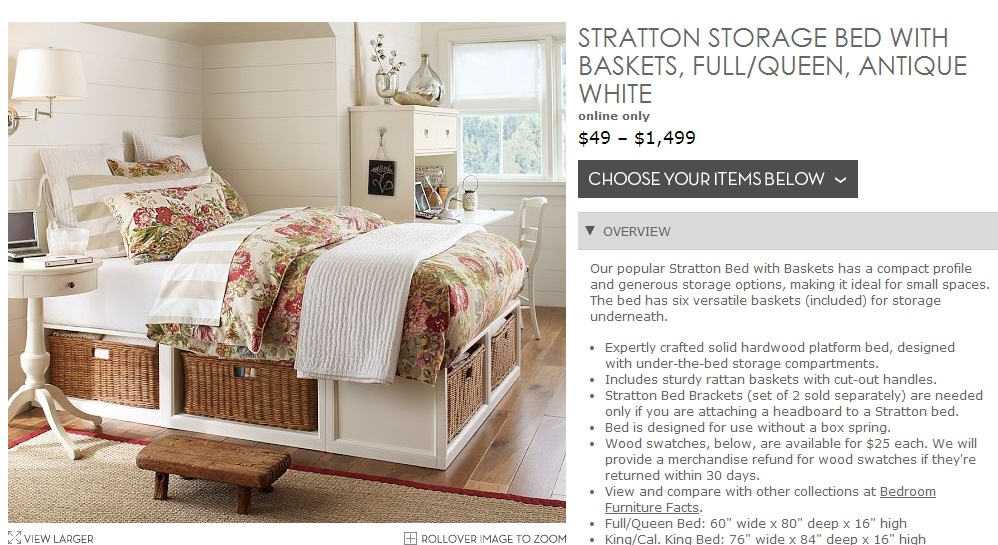 Pottery Barn, Stratton Bed, Storage Bed, Bed, Storage, Cottage