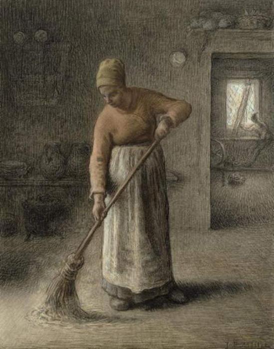 >>>El dia a dia de ayer y de hoy en la pintura>>> - Página 2 Millet-A-Farmer_s-wife-sweeping
