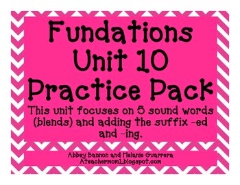 http://www.teacherspayteachers.com/Product/Fundations-Grade-1-Unit-10-Practice-Pack-5-Sound-BlendsSuffixes-ed-and-ing-1086555
