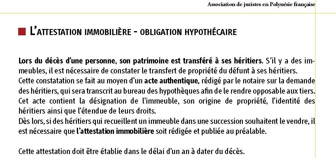 attestation immobiliere