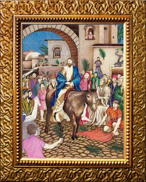 Jesus Christ riding into Jerusalam