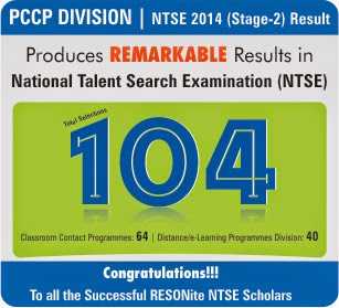 Outstanding Achievement in NTSE- 2014 Stage 2
