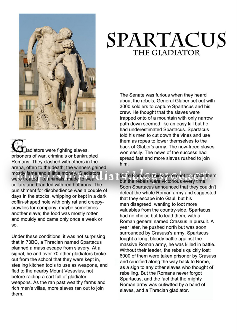 the diary of a gladiator essay The play of the diary of anne frank essay essay on the gladiator vs historyt/span essay on the demo of rome and egypt in the play antony and cleopatra essay.