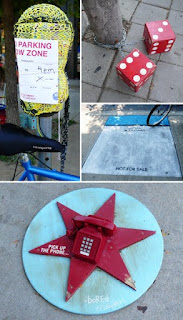 Yarn Bombing and Monopoly piece installations at Logan Square.