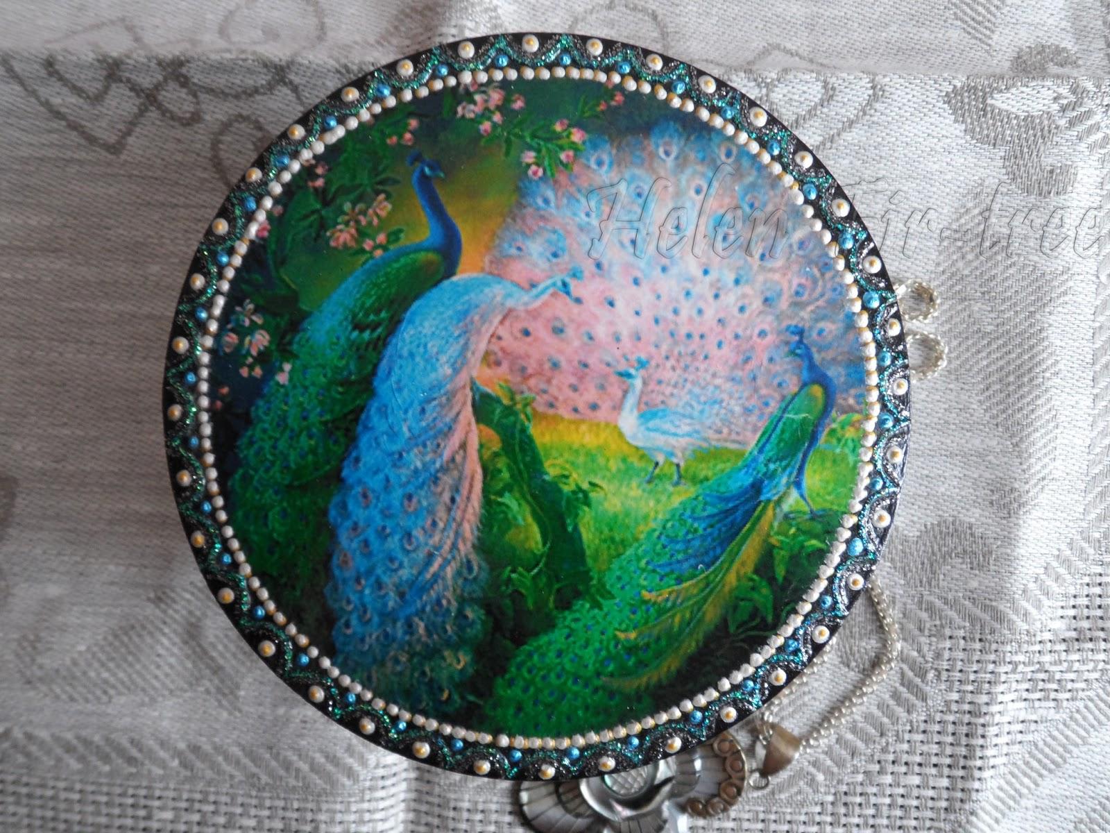 """Helen Fir-tree декупаж  шкатулка """"Павлин"""" decoupage casket """"Peacock"""""""