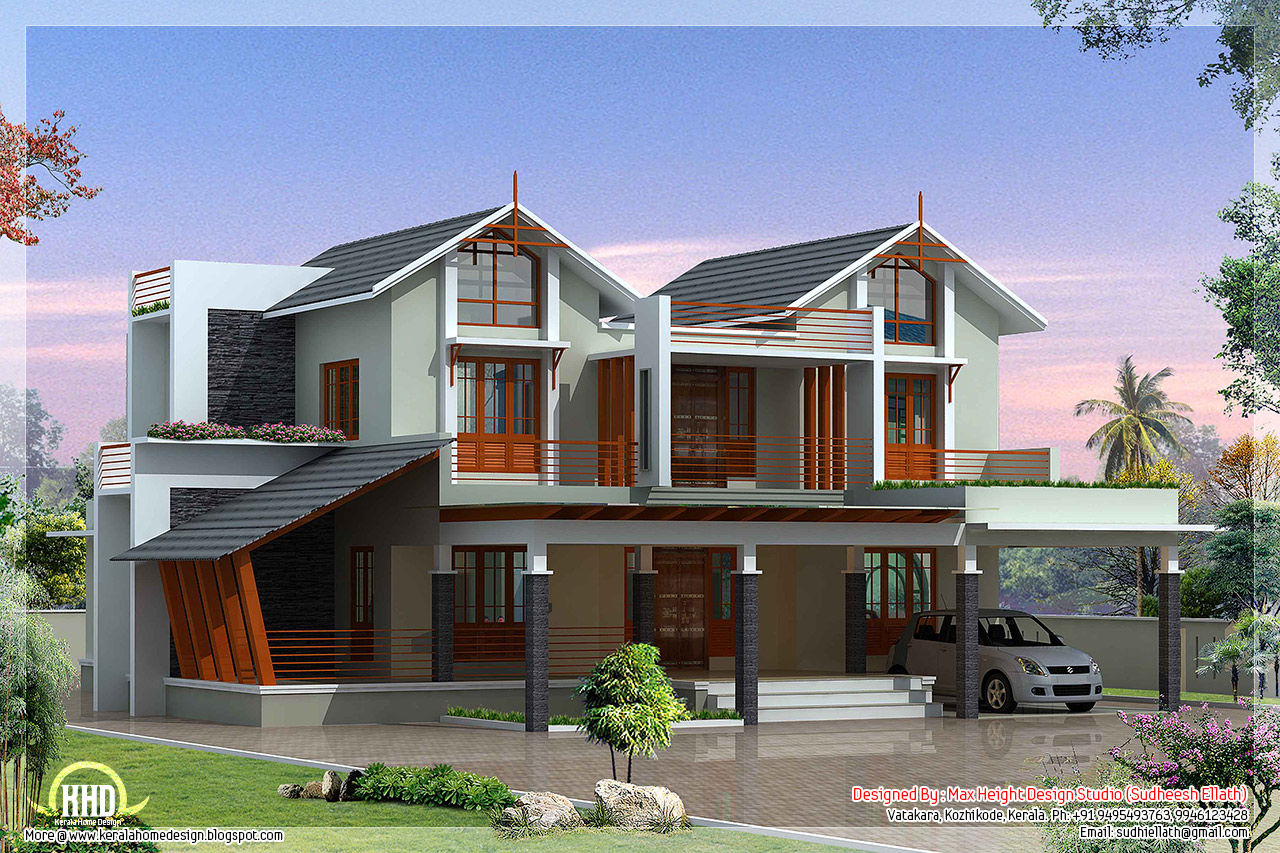 Modern and unique villa design kerala home design and for Custom farmhouse plans