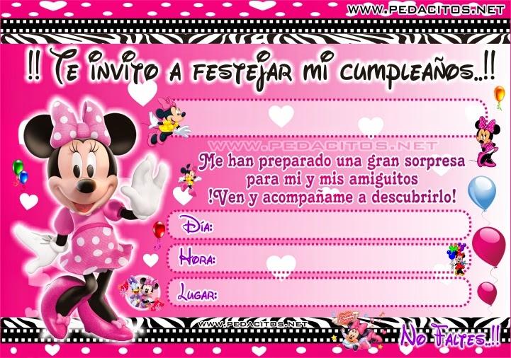 Tarjeta de cumpleaños Minnie bebé para editar - Imagui