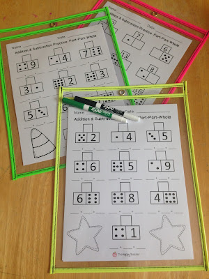Addition and Subtraction worksheets using Part Part Whole Model