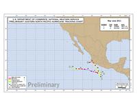 Grafische Zusammenfassung Tropische Stürme und Hurrikans Juni & Juli 2011 Pazifik, Juli, Juni, Calvin, Dora, Eugene, Adrian, Beatriz, 2011, Hurrikansaison 2011, Pazifik, Statistiken,