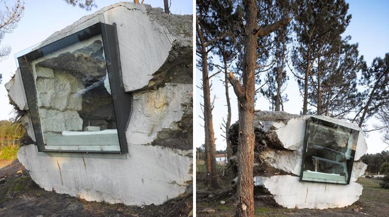 Casa de vacaciones minimalista formado en el interior de for Casa minimalista rustica