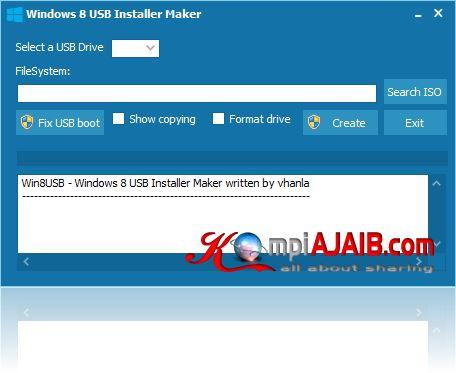 Windows 8 USB Installer Maker v1.0.23.12 silahkan download dengan