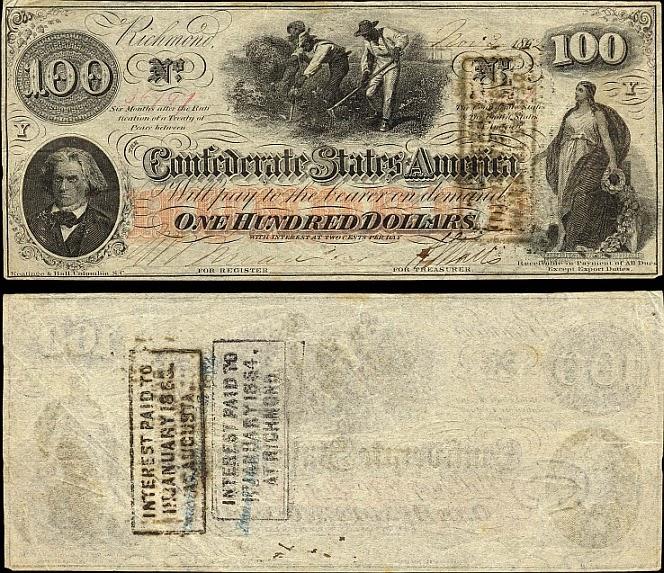 100 долларов Конфедеративных Штатов Америки, Ричмонд, 1862 год