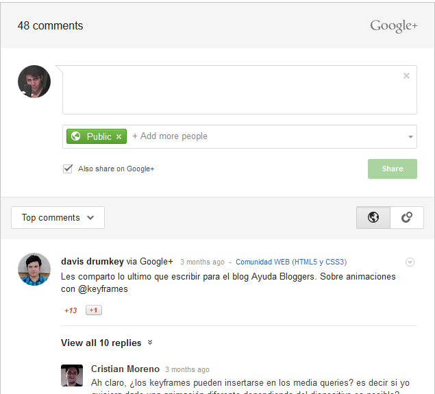 blogger, comments googleplus