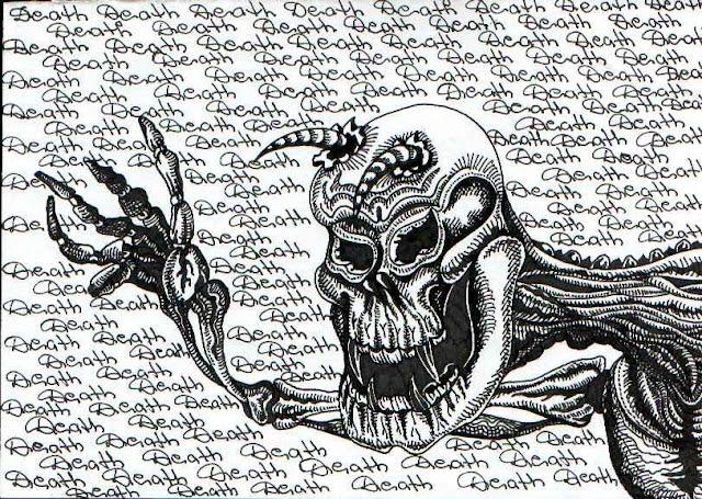 Рогатый череп смерти. Графический рисунок тушью