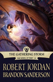 Cover of The Gathering Storm, featuring a dark haired woman wielding a magical artifact against a winged lizard.